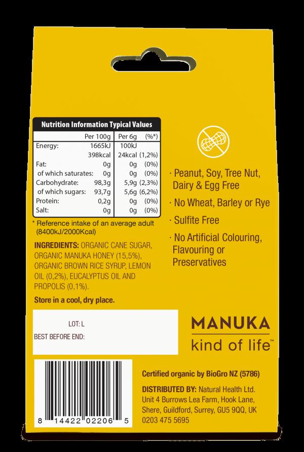 100% naravne Manuka pastile z limono in propolisom - hranilne vrednosti