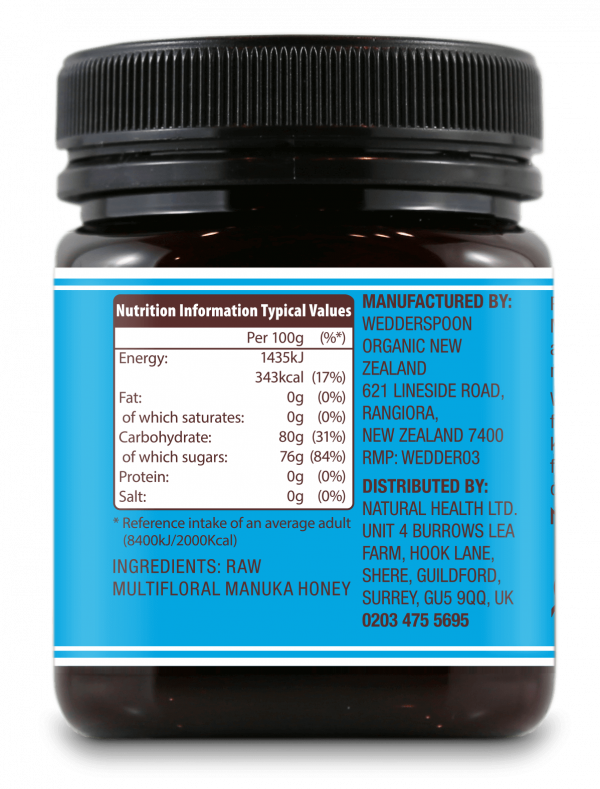 Wedderspoon KFactor™ 12 - surovi Manuka med s 65% cvetnega prahu od manuke, 250 g - hranilna vrednost