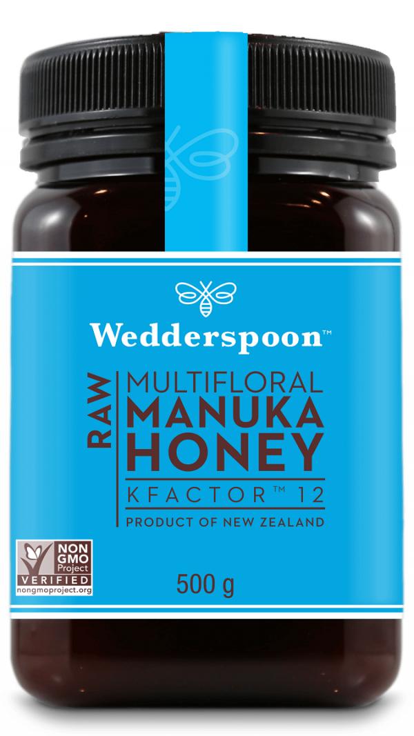 Wedderspoon KFactor™ 12 - surovi Manuka med s 65% cvetnega prahu od manuke, 500 g pakiranje