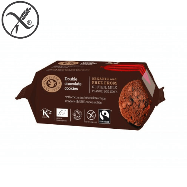 Brezglutenski piškoti dvojna čokolada Doves Farm