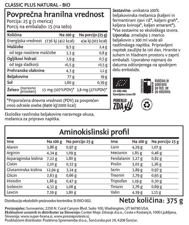 Deklaracija - Sunwarrior Classic PLUS rastlinski proteini - Naravni, 375 g
