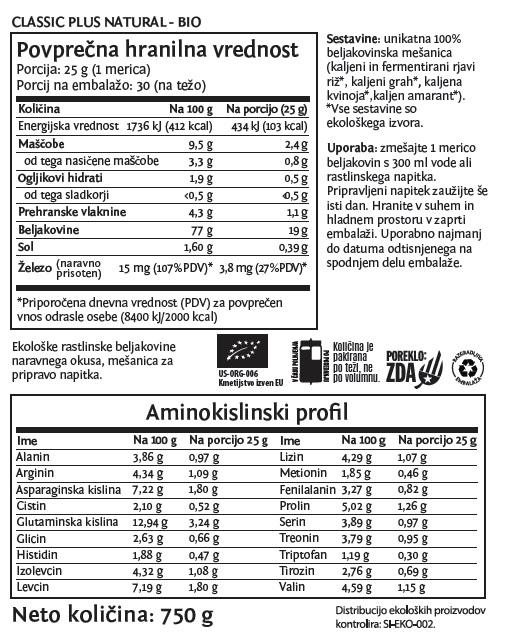 Deklaracija - Sunwarrior Classic PLUS rastlinski proteini - Naravni, 750 g