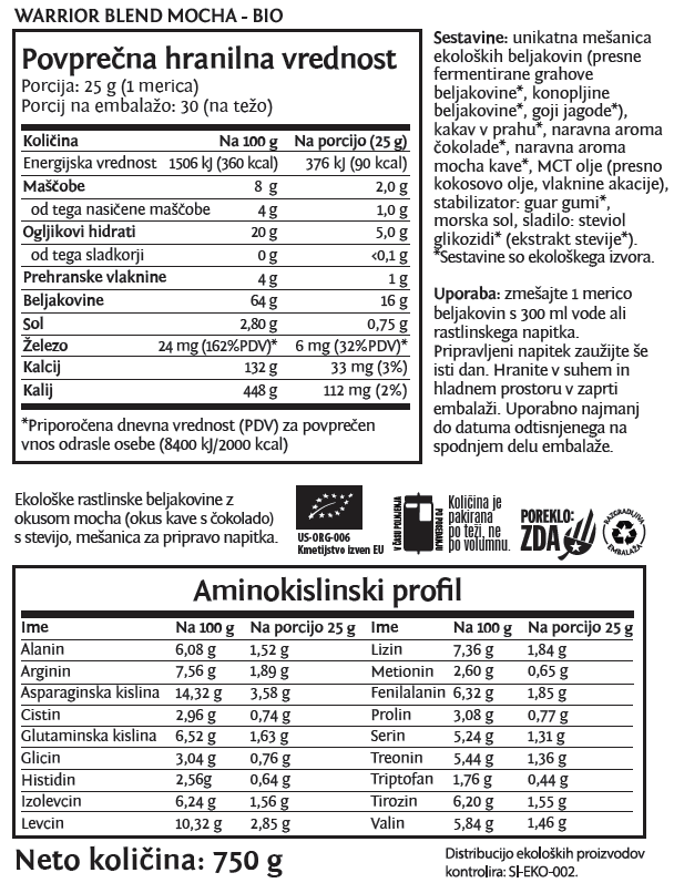 Deklaracija - Sunwarrior Warrior Blend rastlinski proteini - Mocha, 750 g
