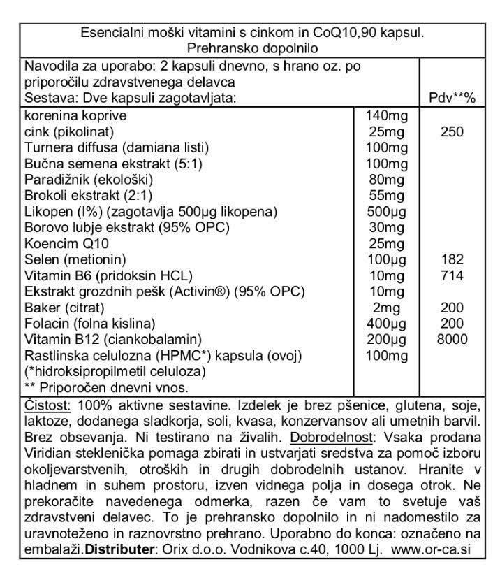 Esencialni moški vitamini s cinkom in CoQ10 - deklaracija