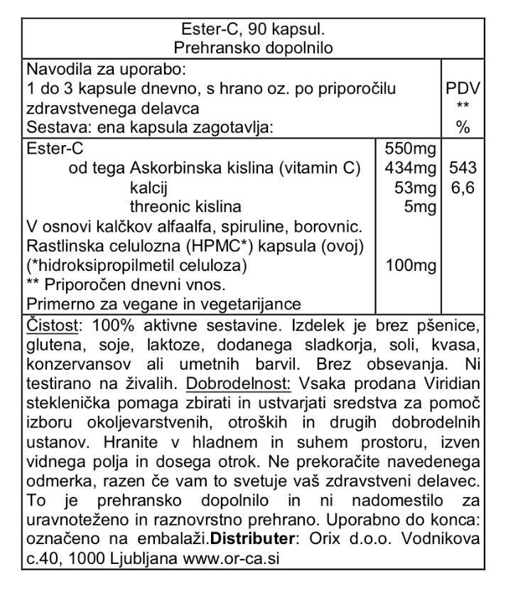 Ester-C 550 mg Viridian - deklaracija