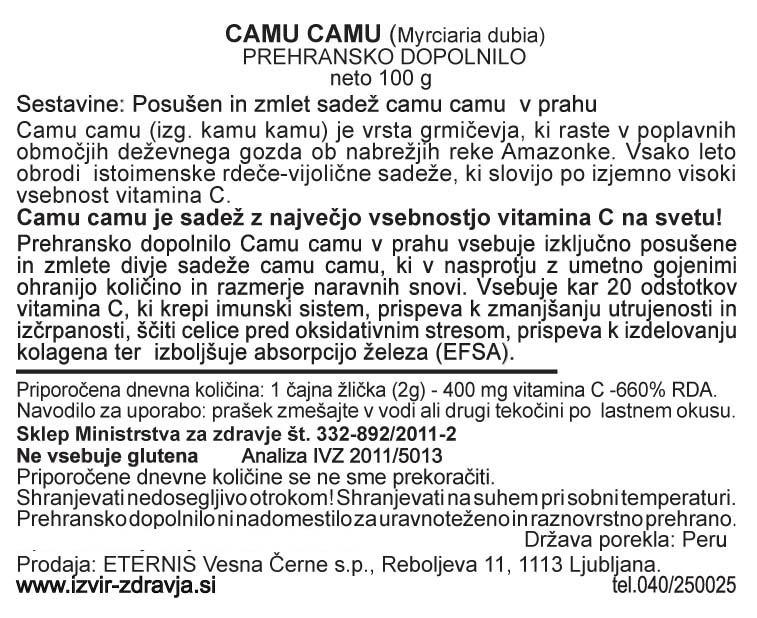 Natural Earth Camu Camu 100 g - deklaracija