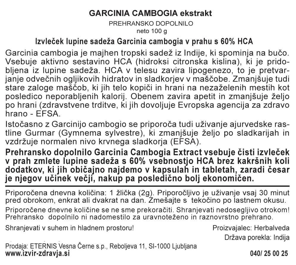 Natural Earth Garcinia Cambogia 100 g - deklaracija
