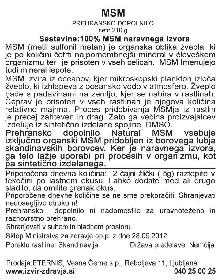 Natural Earth MSM 210 g - deklaracija