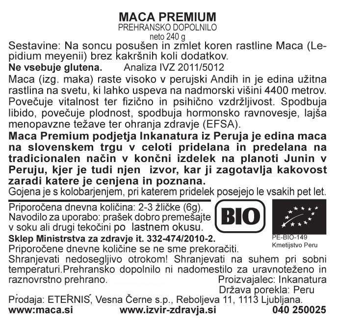 Natural Earth Maca Premium eko 240 g - deklaracija