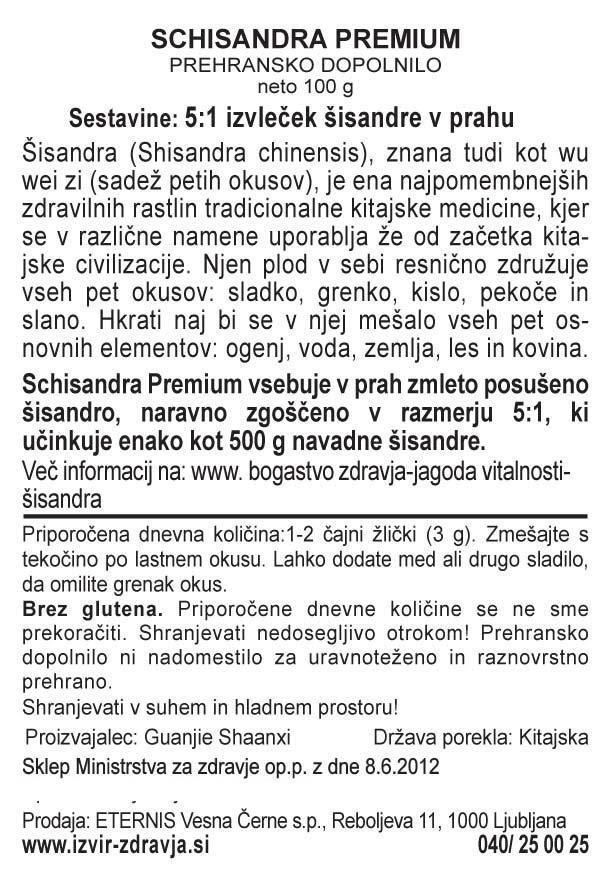 Natural Earth Schisandra Premium 100 g - deklaracija