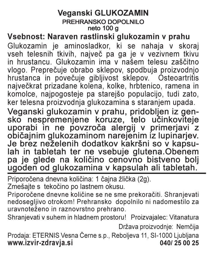 Natural Earth Veganski Glukozamin 100 g - deklaracija