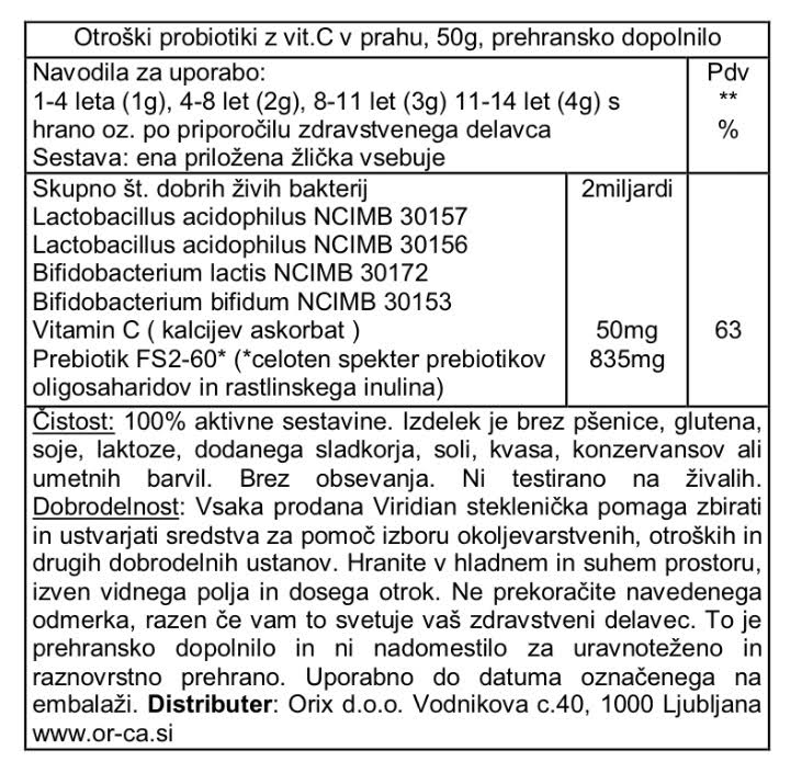 Otroški probiotiki v prahu z vitaminom C Viridian - deklaracija