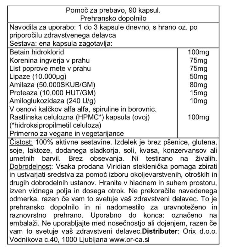 Pomoč za prebavo - prebavni encimi Viridian - deklaracija