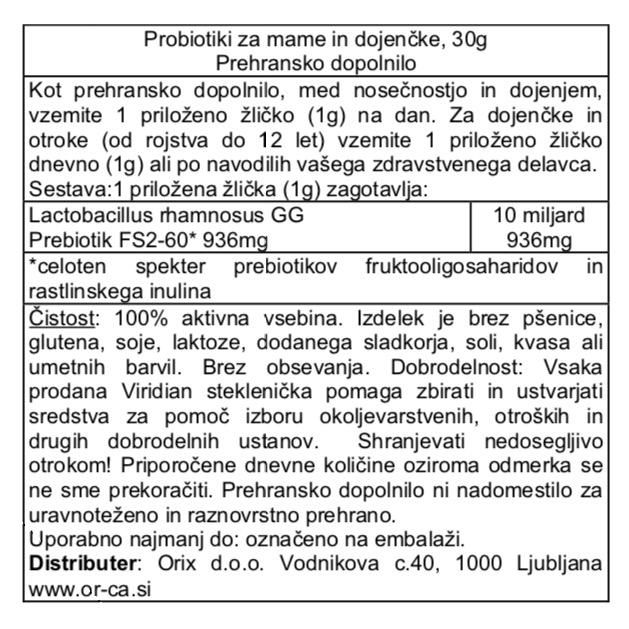 Probiotik za mame in dojenčke Viridian - deklaracija