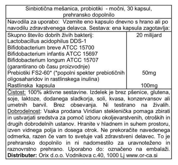 Probiotiki Dnevna simbioza, močnejši Viridian - deklaracija