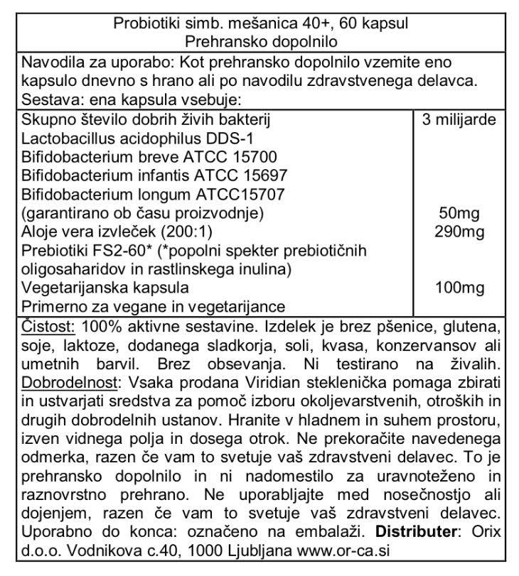 Probiotiki dnevna simbioza 40+ Viridian - deklaracija