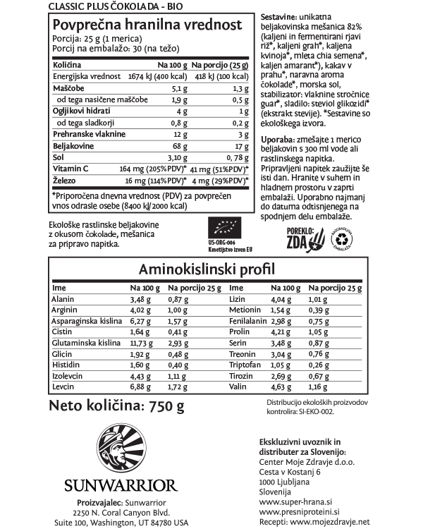 Sunwarrior Classic PLUS rastlinski proteini - Čokolada 750 g - deklaracija