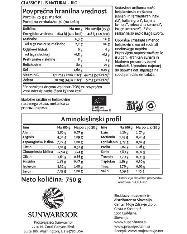 Sunwarrior Classic PLUS rastlinski proteini - Naravni 750 g - deklaracija