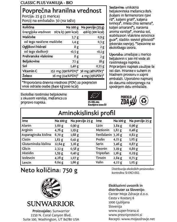 Sunwarrior Classic PLUS rastlinski proteini - Vanilija 750 g - deklaracija
