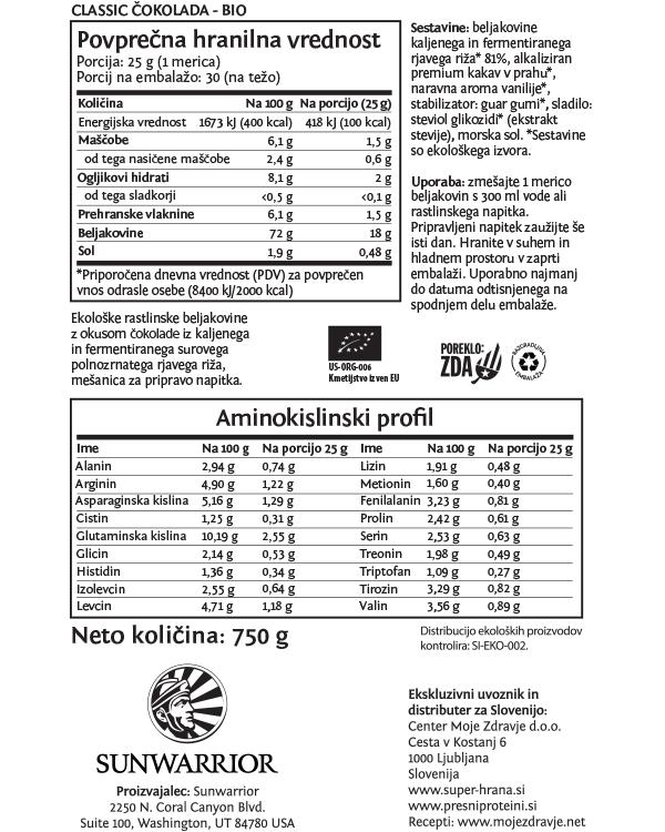Sunwarrior Classic rastlinski proteini - Čokolada 750 g - deklaracija
