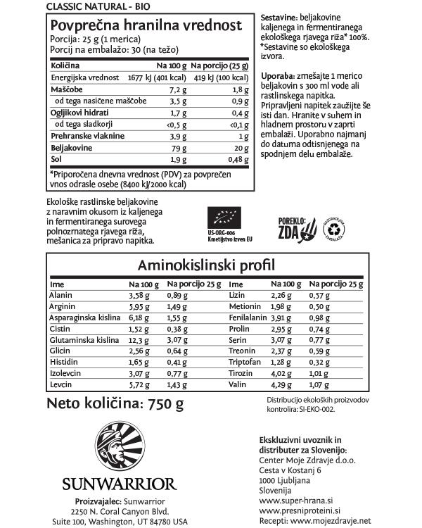 Sunwarrior Classic rastlinski proteini - Naravni 750 g - deklaracija