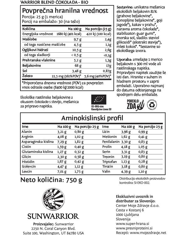 Sunwarrior Warrior Blend rastlinski proteini - Čokolada 750 g - deklaracija