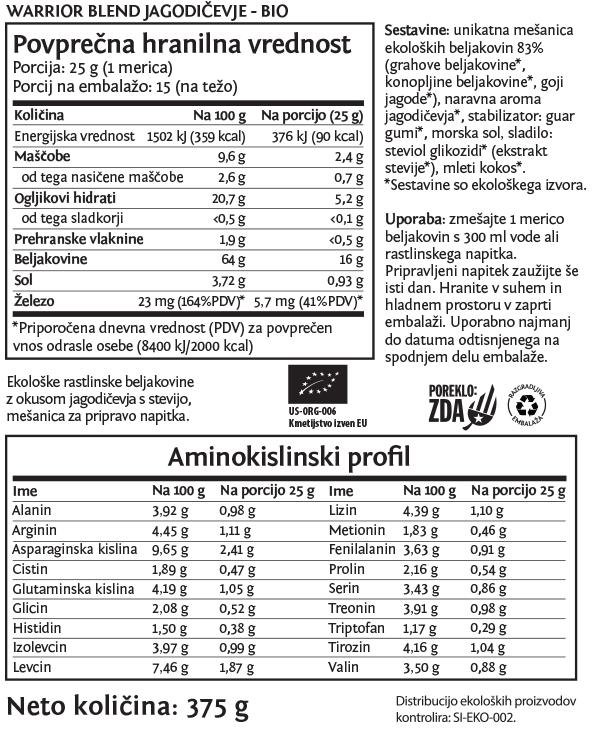 Sunwarrior Warrior Blend rastlinski proteini - Jagodičevje 375 g - deklaracija