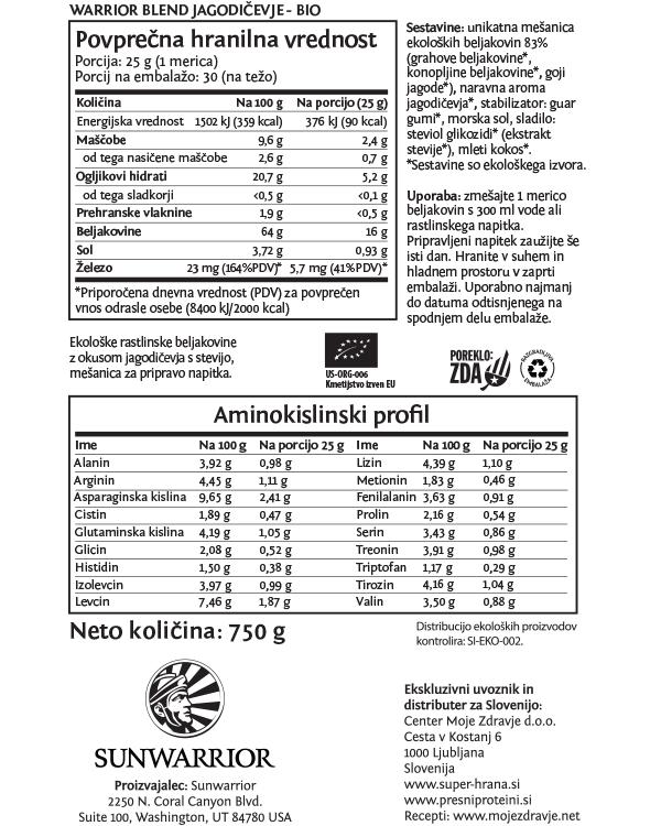 Sunwarrior Warrior Blend rastlinski proteini - Jagodičevje 750 g - deklaracija