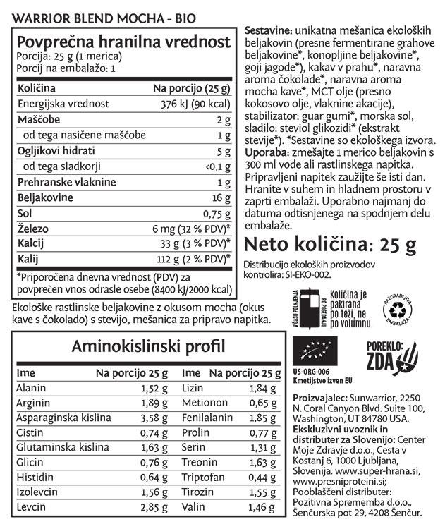 Sunwarrior Warrior Blend rastlinski proteini -Mocha, 25 g - deklaracija