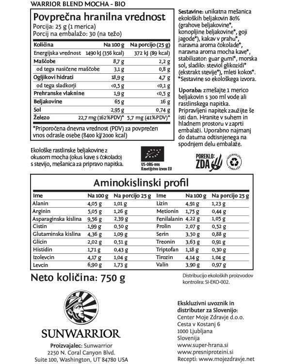 Sunwarrior Warrior Blend rastlinski proteini - Mocha 750 g - deklaracija