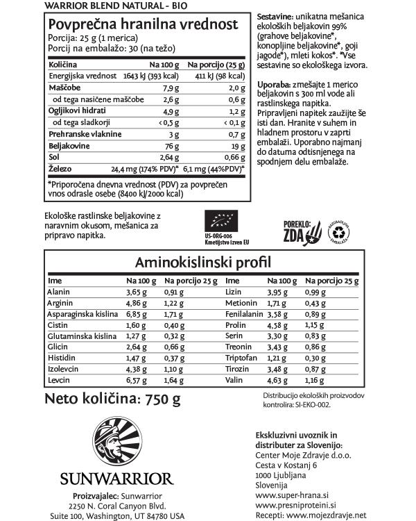 Sunwarrior Warrior Blend rastlinski proteini - Naravni 750 g - deklaracija