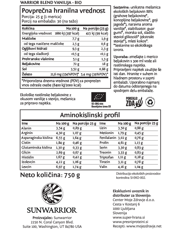 Sunwarrior Warrior Blend rastlinski proteini - Vanilija 750 g - deklaracija