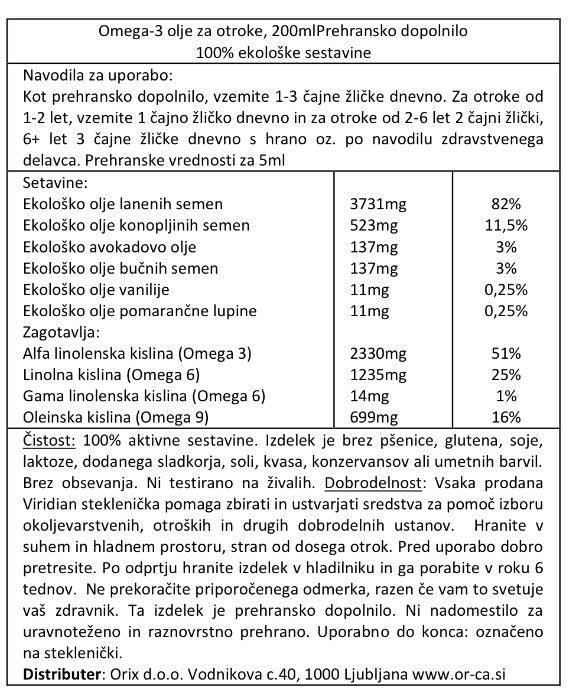 ViridiKid ekološko Omega3 olje za otroke - deklaracija