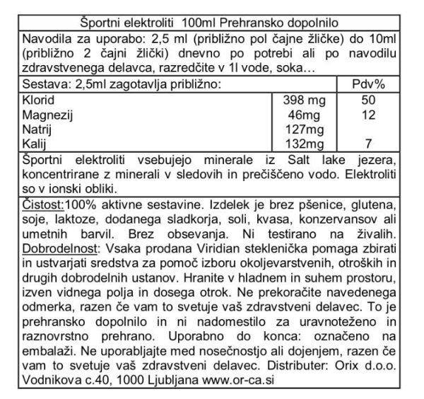 Športni elektroliti (iz Velikega slanega jezera) Viridian 100 mL - deklaracija