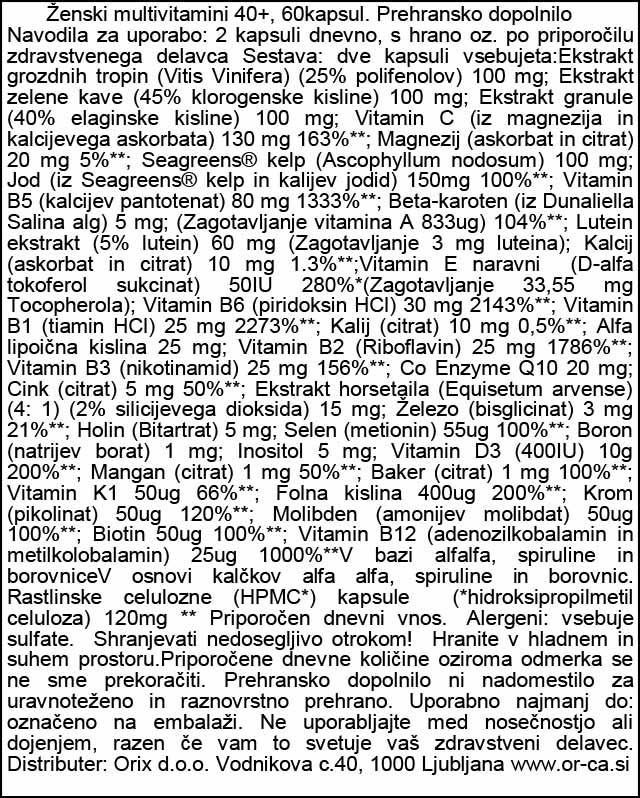 Ženski multivitamini 40+ Viridian 60 kapsul - deklaracija