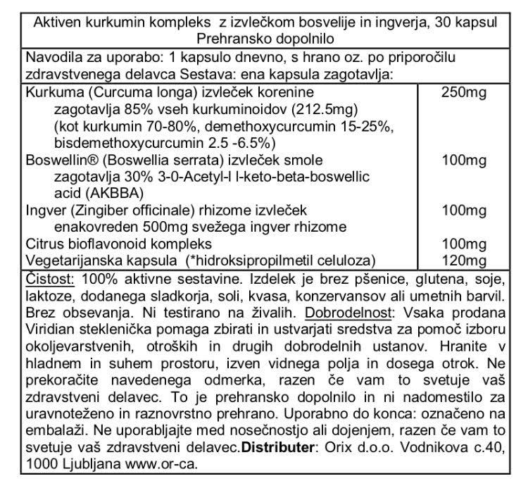 Aktiven kurkumin kompleks Viridian, 30 kapsul - deklaracija