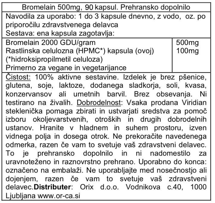 Bromelain, 500 mg Viridian 90 kapsul - deklaracija