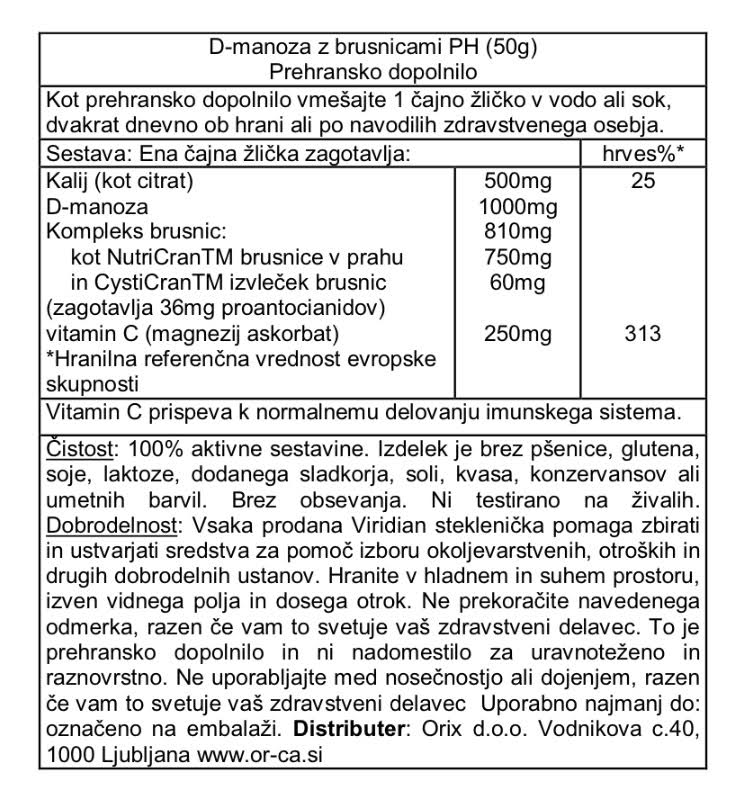 D-manoza z brusnicami pH Viridian, 50 g - deklaracija