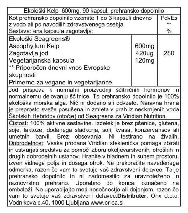 Ekološki Kelp, 600 mg Viridian, 90 kapsul - deklaracija