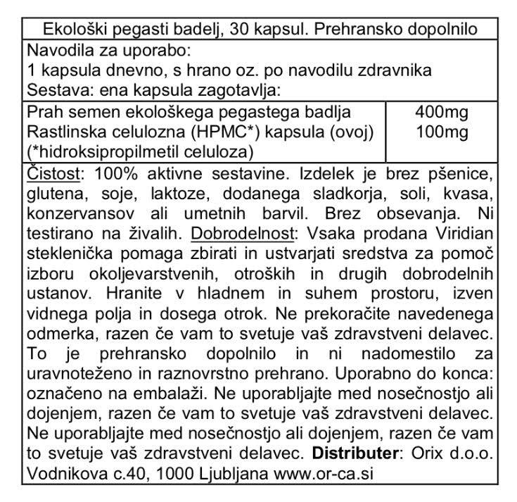Ekološki pegasti badelj Viridian, 30 kapsul - deklaracija