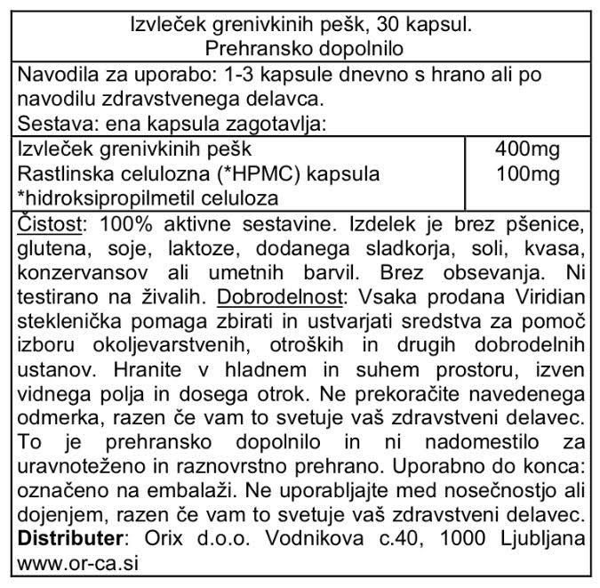 Izvleček grenivkinih pešk, 400 mg Viridian 30 kapsul - deklaracija