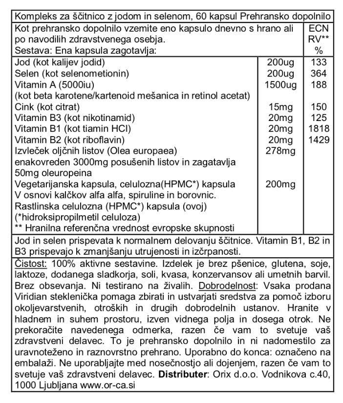Kompleks za ščitnico Viridian 60 kapsul - deklaracija