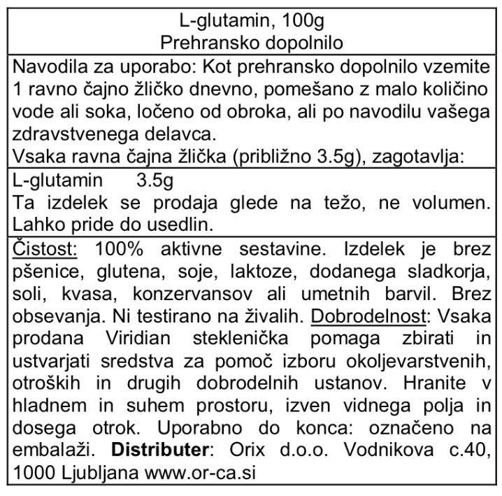 L-Glutamin Viridian 100 g - deklaracija