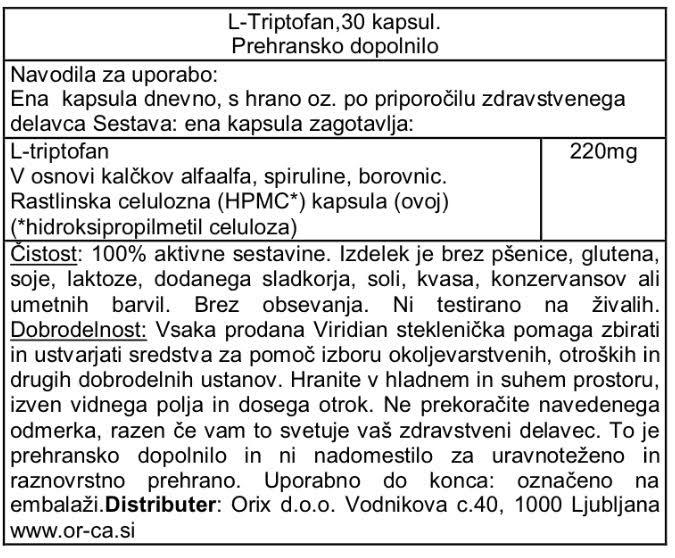 L-tryptophan (L-triptofan) Viridian 30 kapsul - deklaracija