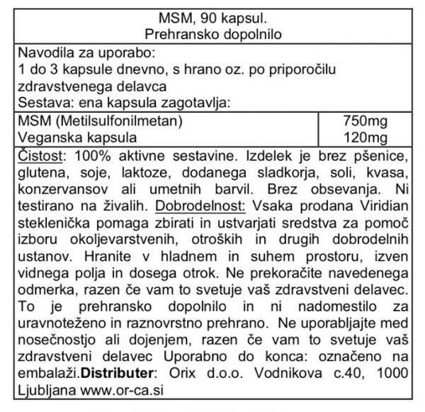 MSM Viridian, 90 kapsul - deklaracija