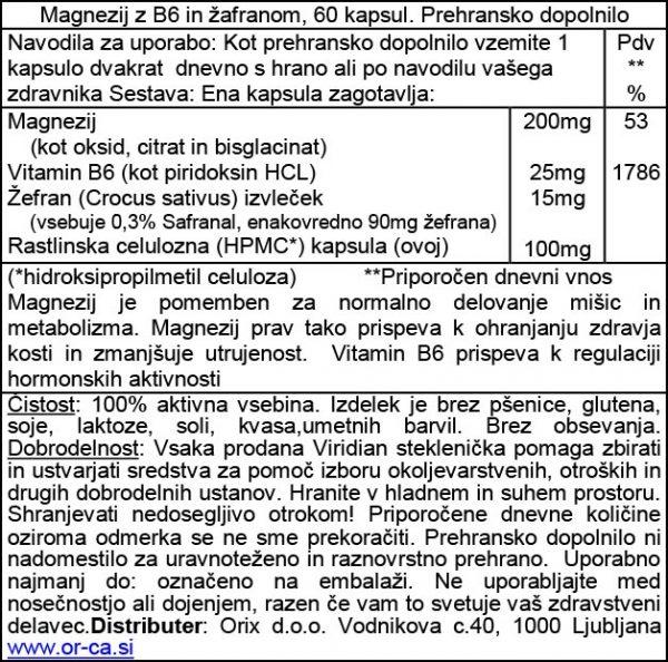 Magnezij z B6 in žafranom Viridian, 60 kapsul - deklaracija