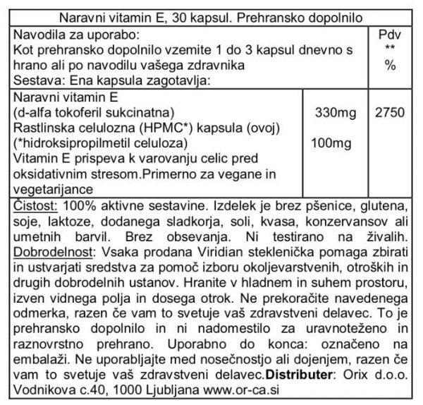 Naravni vitamin E, 330 mg (400 iu) Viridian, 30 kapsul - deklaracija