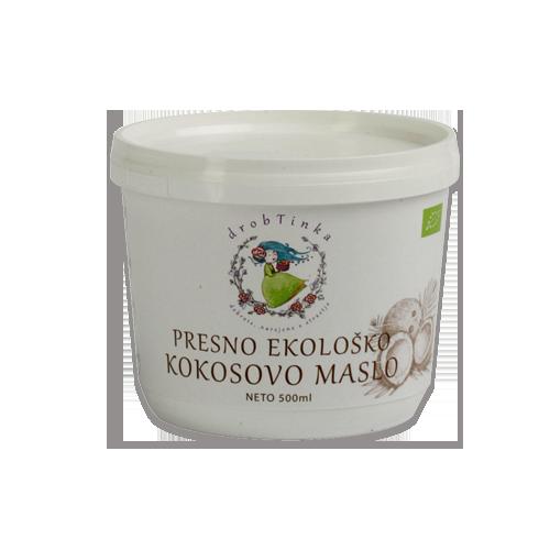 Presno ekološko kokosovo maslo Drobtinka, 500 ml