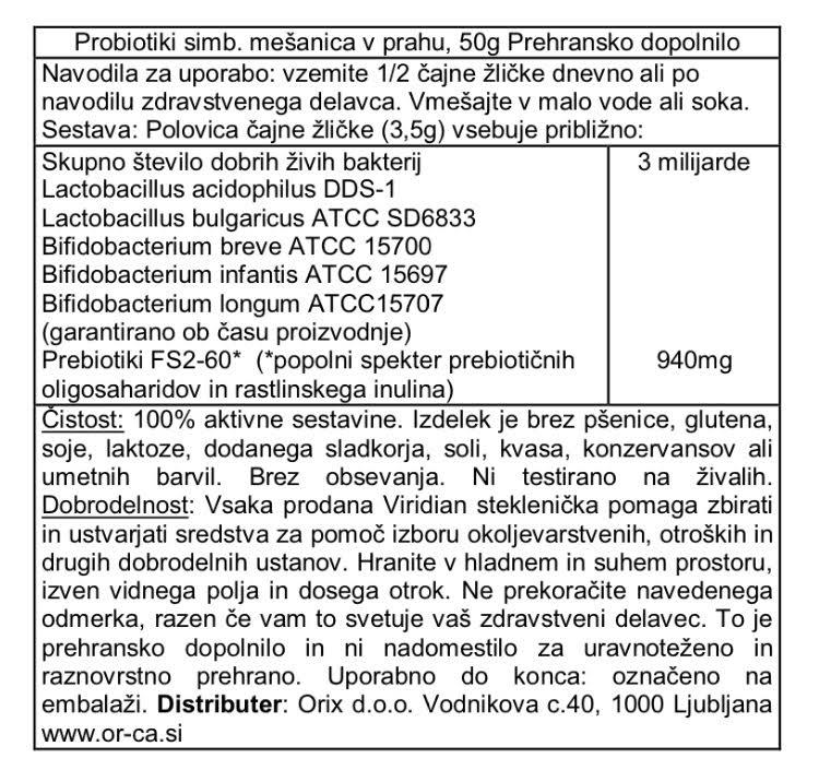 Probiotiki dnevna simbioza v prahu Viridian 50 g - deklaracija