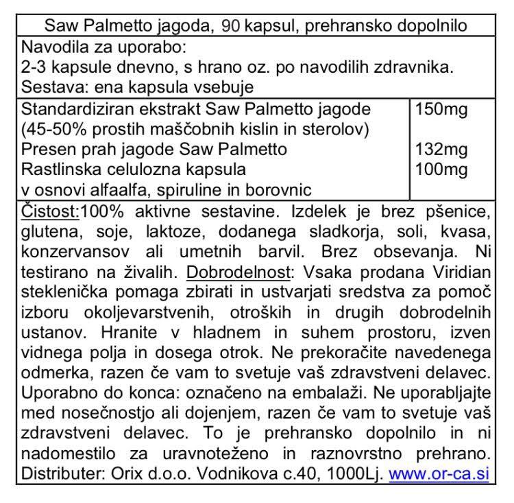 Saw Palmetto jagoda Viridian, 90 kapsul - deklaracija